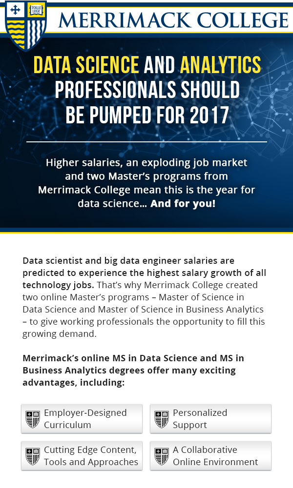 Online MS in Data Science and in Business Analytics programs from Merrimack College