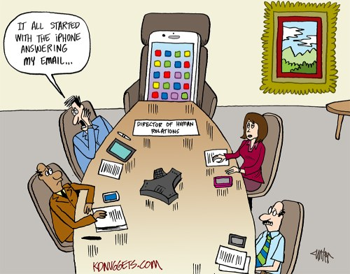 Cartoon: iPhone, New HR Manager