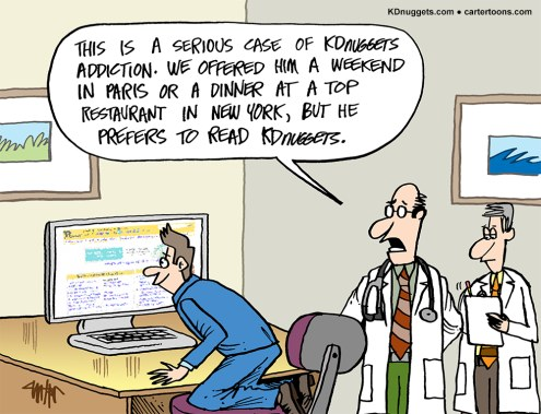 Cartoon: KDnuggets Addiction