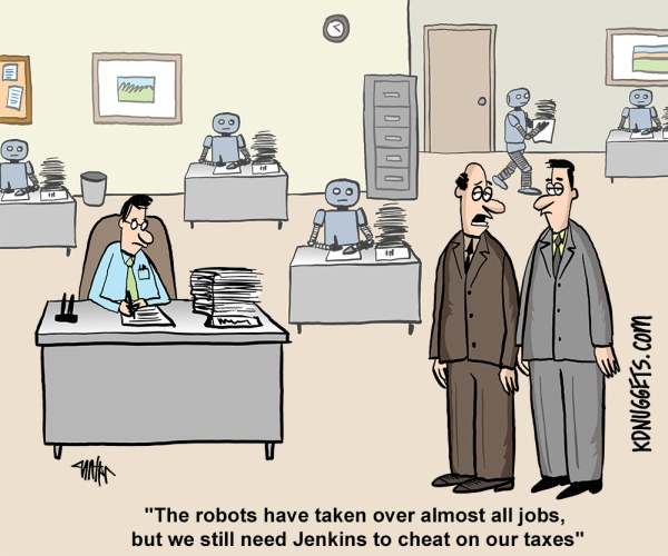Cartoon Robots Human Tax Cheating