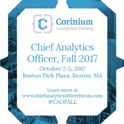 Corinium Chief Analytics Officer, Fall, Boston, Oct 2-5 – get brochure, attendee list – special rate till Aug 25