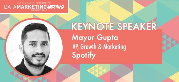 Spotify Global VP Opens Data Marketing Toronto Conference Nov. 20
