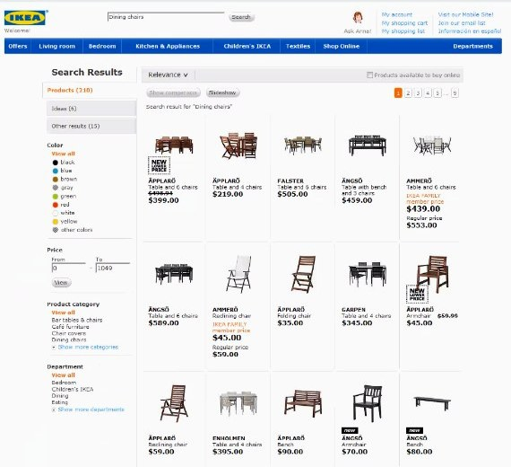 Ikea chairs - web page