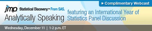Analytically Speaking featuring an International Year of Statistics Panel Discussion | Wednesday, Dec 11, 1-2 p.m. ET