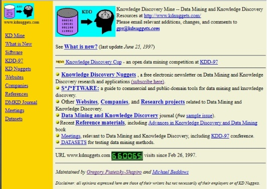 KDnuggets 1997 screenshot