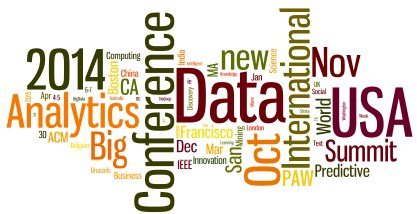 Word cloud for Oct 2014 - Apr 2015 Meetings in Analytics, Big Data, Data Mining, Data Science