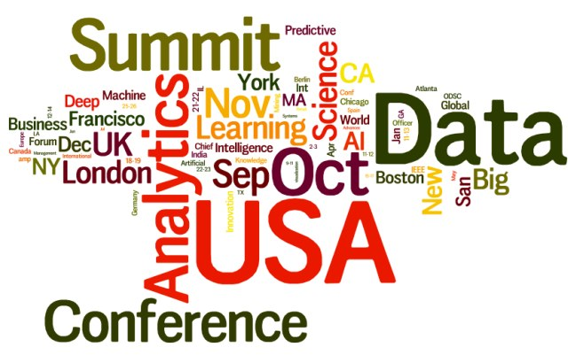 Upcoming Meetings in AI, Analytics, Big Data, Data Science, Machine Learning: September 2017 and Beyond