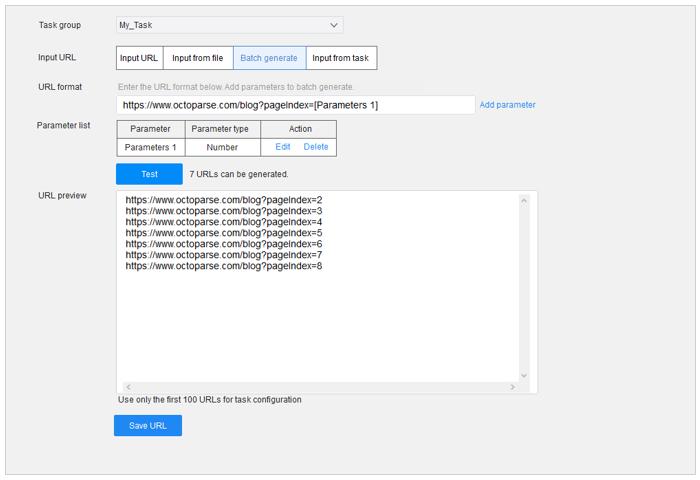 Octoparse 2 URLs Input