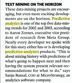 PC Magazine, Nov 19, 2002 excerpt on Predictive Analytics