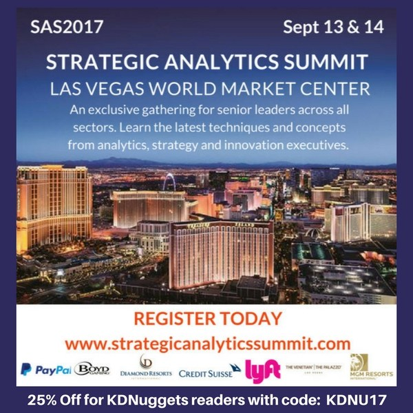 Strategic Analytics Summit, Las Vegas, Sep 13-14 - use KDNU17 for 25% off