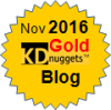 Top KDnuggets Blogger, Gold for Nov 2016