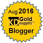 Top KDnuggets Blogger, Gold for August 2016
