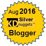 Top KDnuggets Blogger, Silver for August 2016
