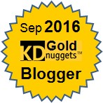 Top KDnuggets Blogger - Gold, September 2016