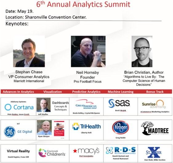 U. of Cincinnati Analytics Summit, May 19