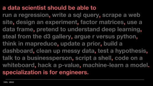A data scientist should