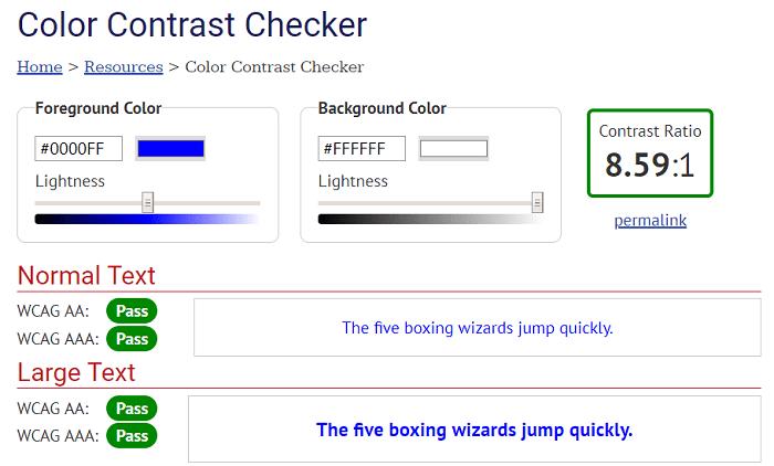 Color contrast checker
