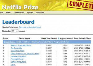 This image shows netflix leaderboard results with blending hundreds of predictive models