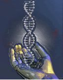 Hand holding DNA helix