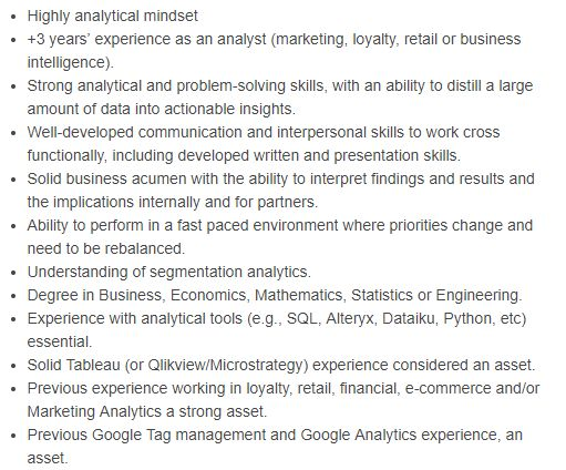 marketing data analyst technical skills