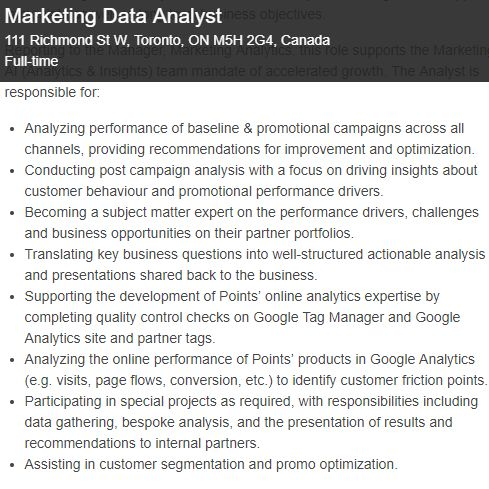 marketing data analyst - job description
