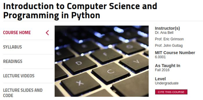 Free From MIT: Intro to Computer Science and Programming in Python
