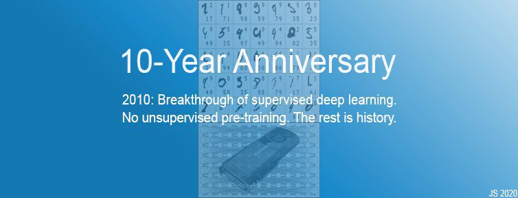 2010: Breakthrough of supervised deep learning. No unsupervised pre-training. The rest is history.  (Juergen Schmidhuber)
