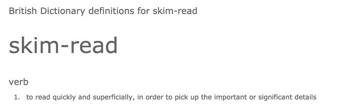 Skim read definition