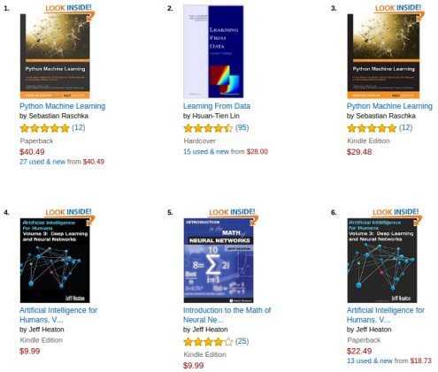 Top Amazon Books Neural Networks